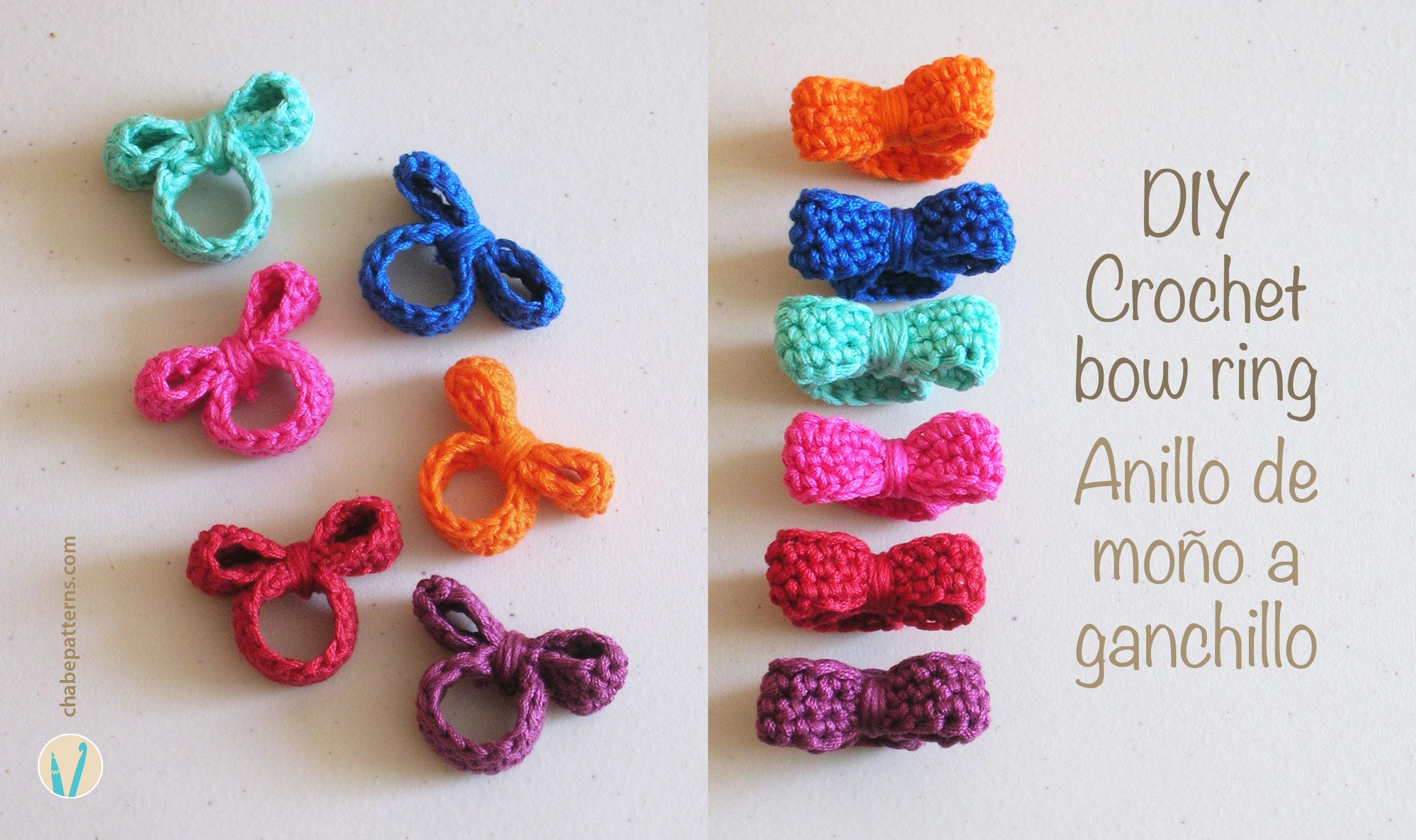 Crochet bow ring anillo de mo o - Como hacer cosas de ganchillo ...