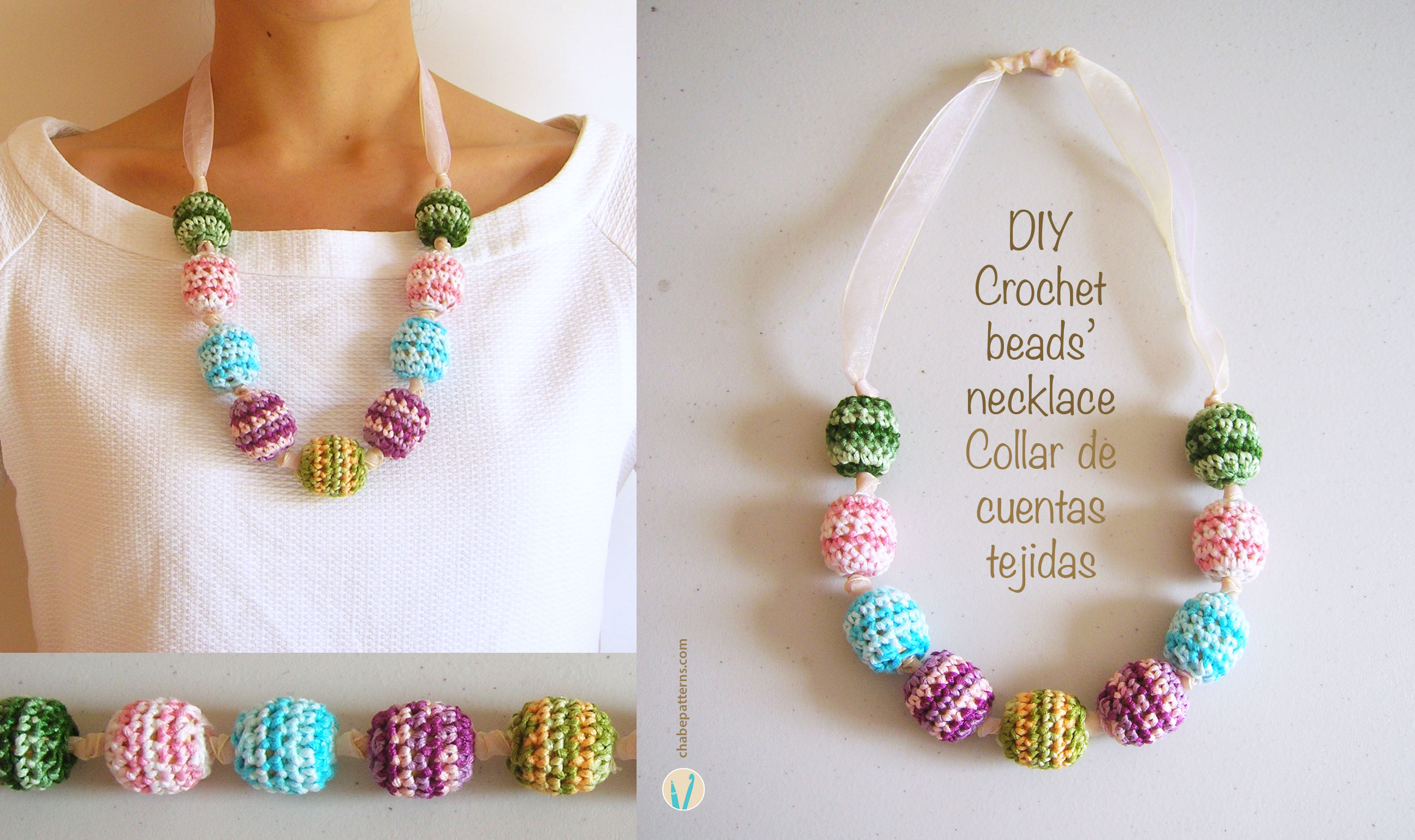 Crochet beads\' necklace/ Collar de cuentas tejidas