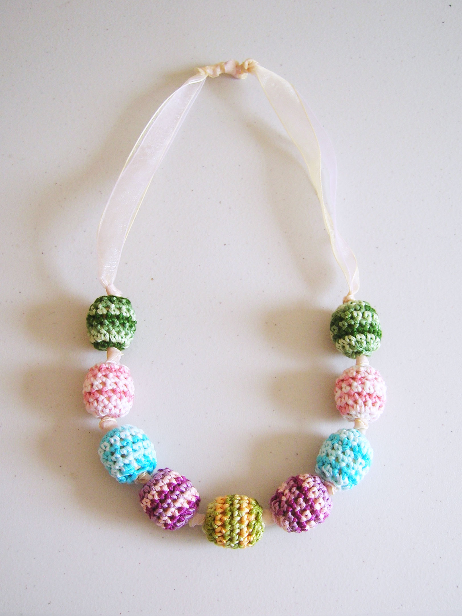 crochet beads necklace collar de cuentas tejidas