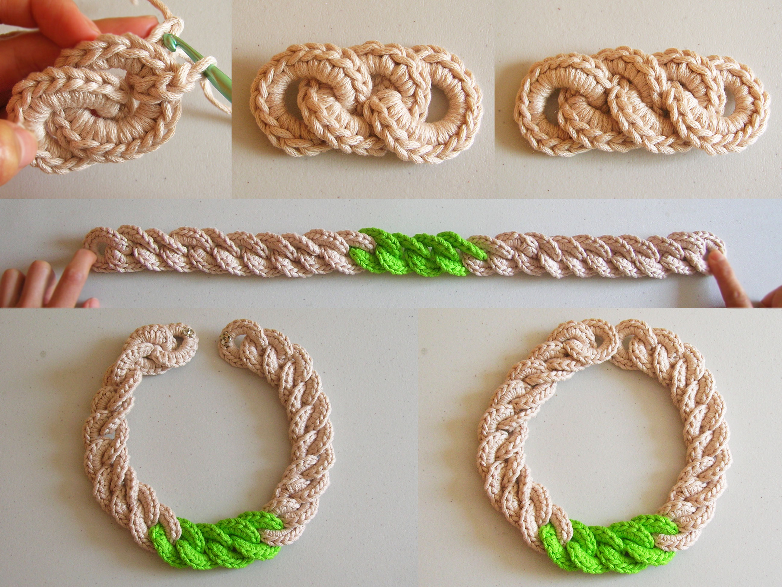 Crochet Chain : Crochet chain necklace / Collar de cadena tejida Chabepatterns