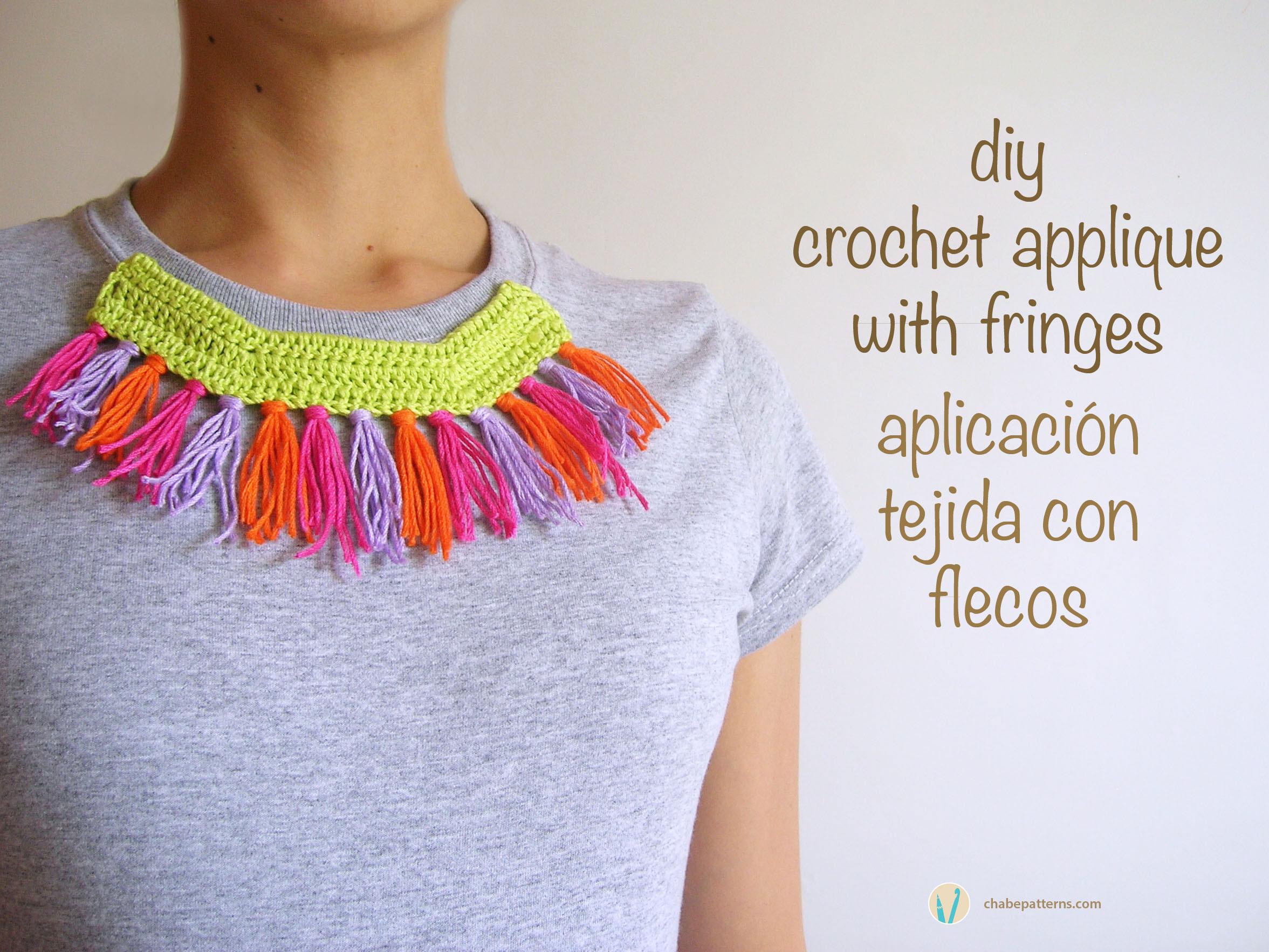 Crochet applique with fringes aplicaci n tejida con - Aplicaciones en crochet ...