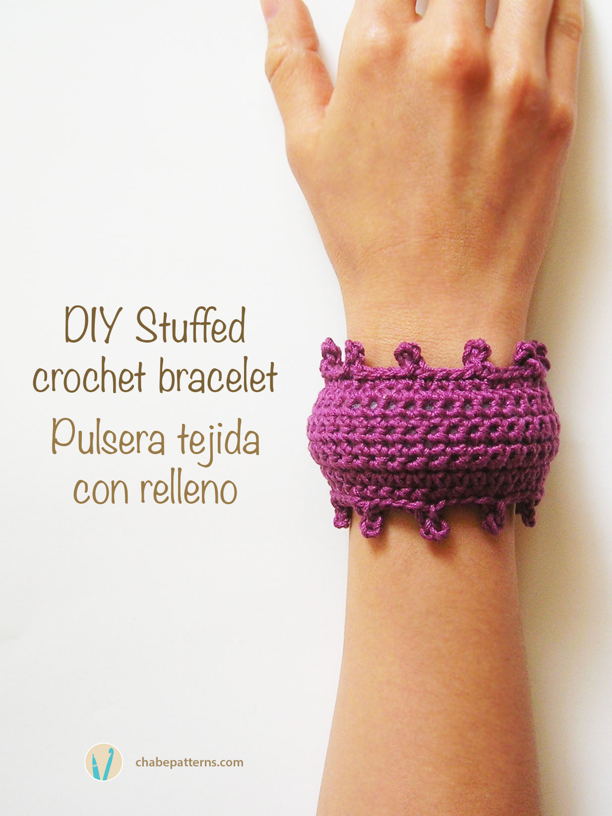 Stuffed crochet bracelet/ Pulsera tejida con relleno