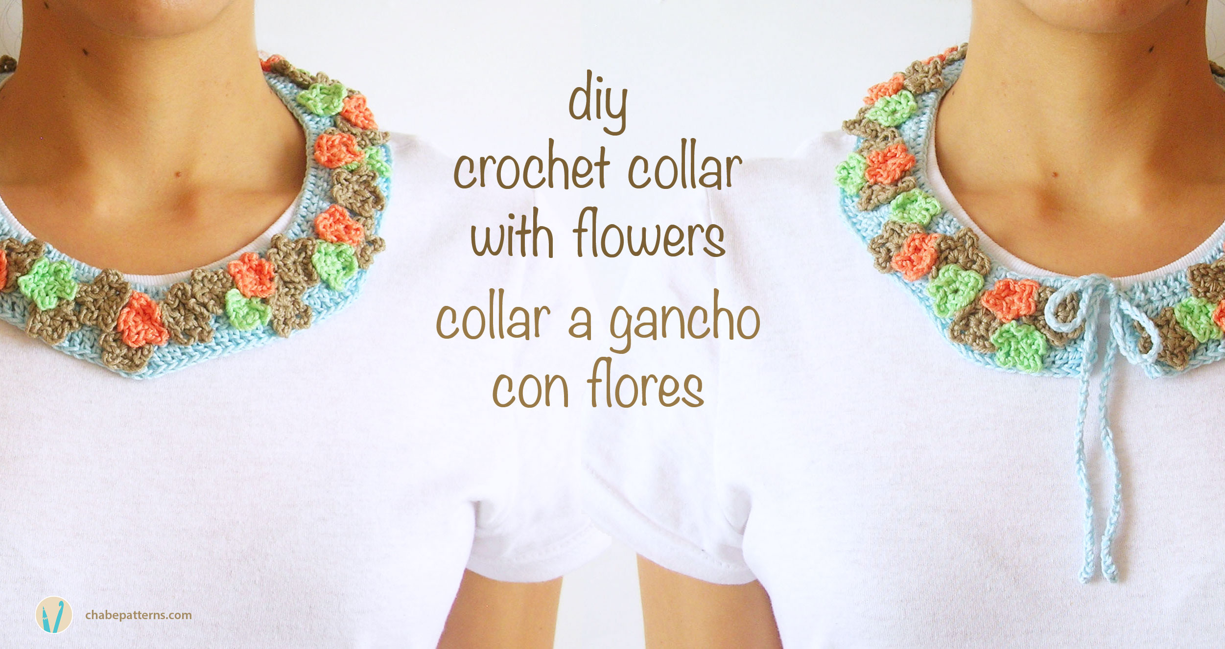 Crochet collar with flowers/ Cuello a gancho con flores