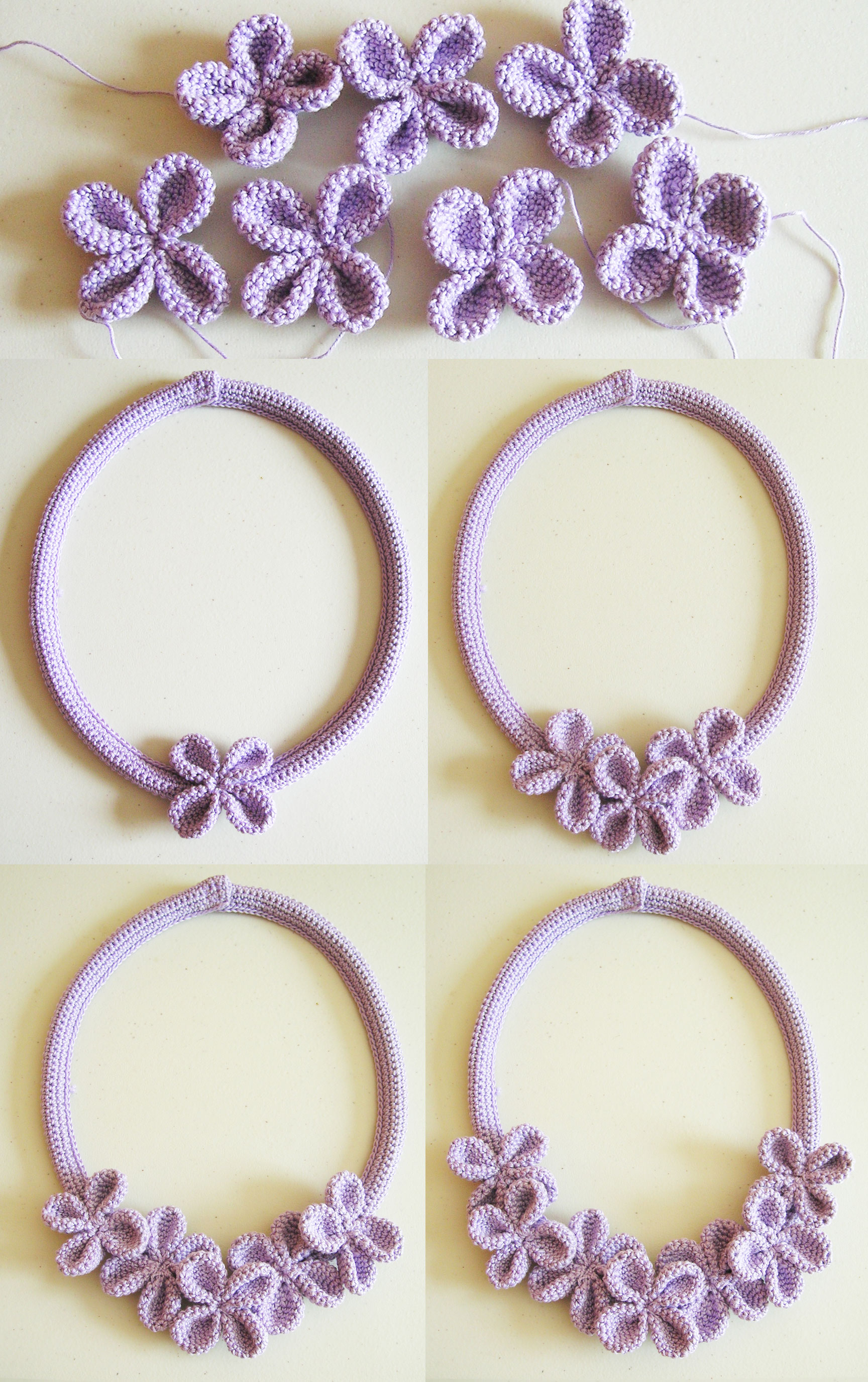 Crochet flower necklace #3/ Collar de flores a ganchillo #3