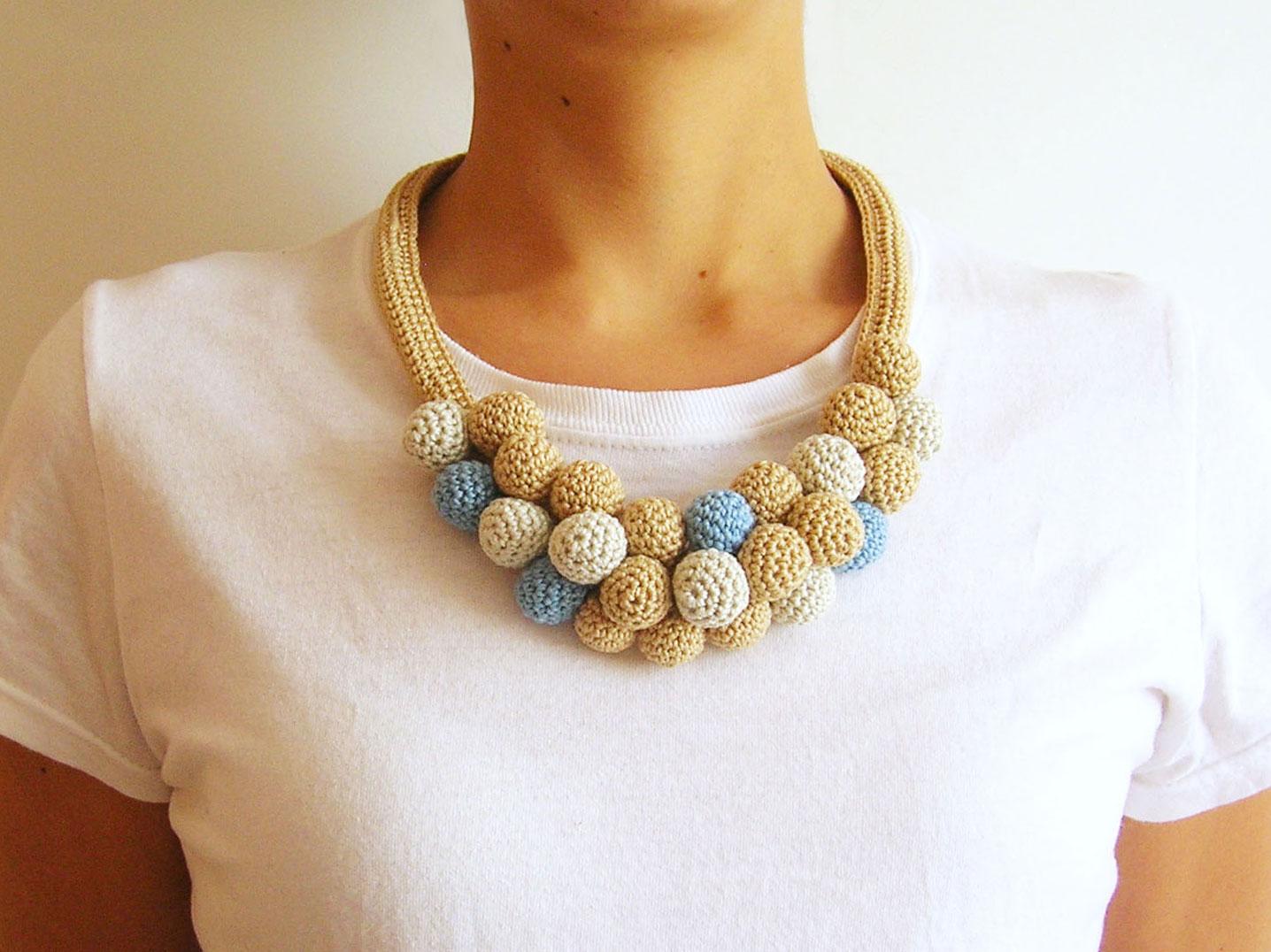 Crochet beads necklace 3 collar de cuentas tejidas 3 - Como hacer cosas de ganchillo ...