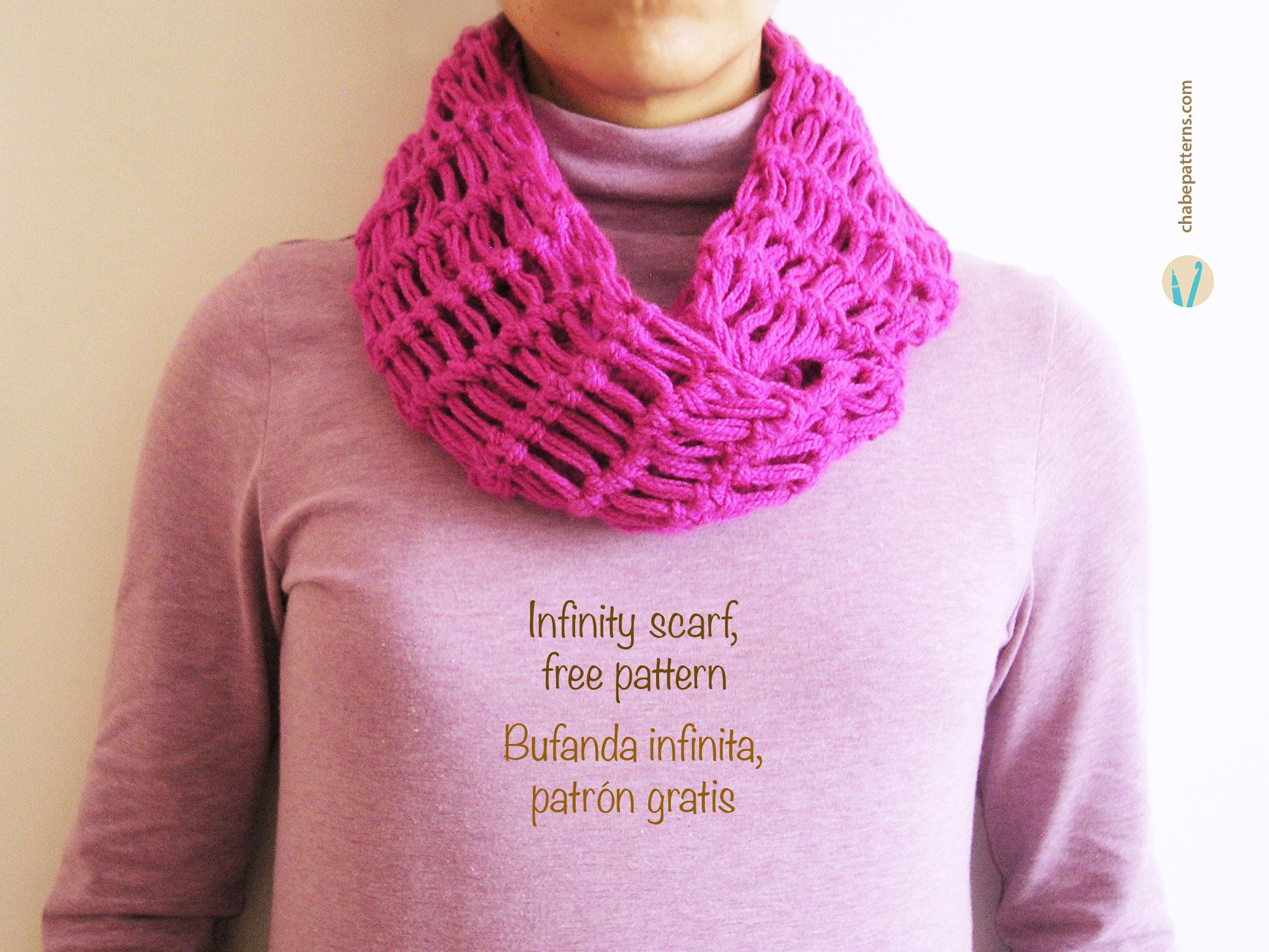 Hermosa Los Patrones De Crochet Libre Para La Bufanda Infinito ...