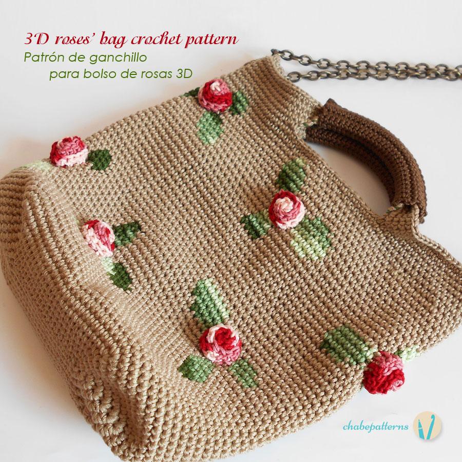 Up cycled fabric yarn and 3D Roses Bag/ Estambre de tela reciclada y ...