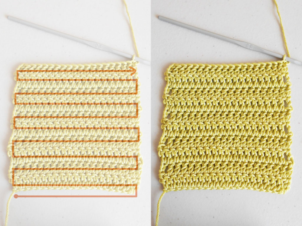 Crocheting back and forth/ Tejido de ida y vuelta a ganchillo