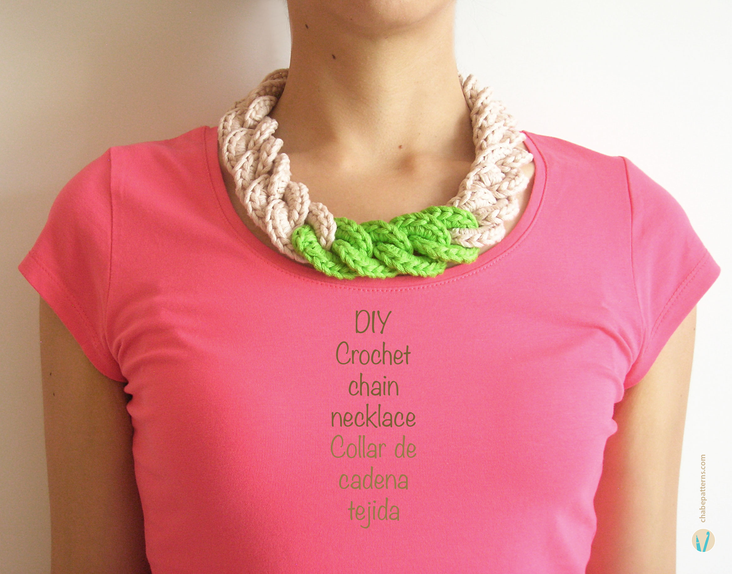 Crochet Stitches Jewelry : Crochet chain necklace / Collar de cadena tejida Chabepatterns